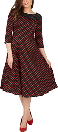 Amazon.com: Black Butterfly 'Iris' 50's Polka Dot Collared Dress ...