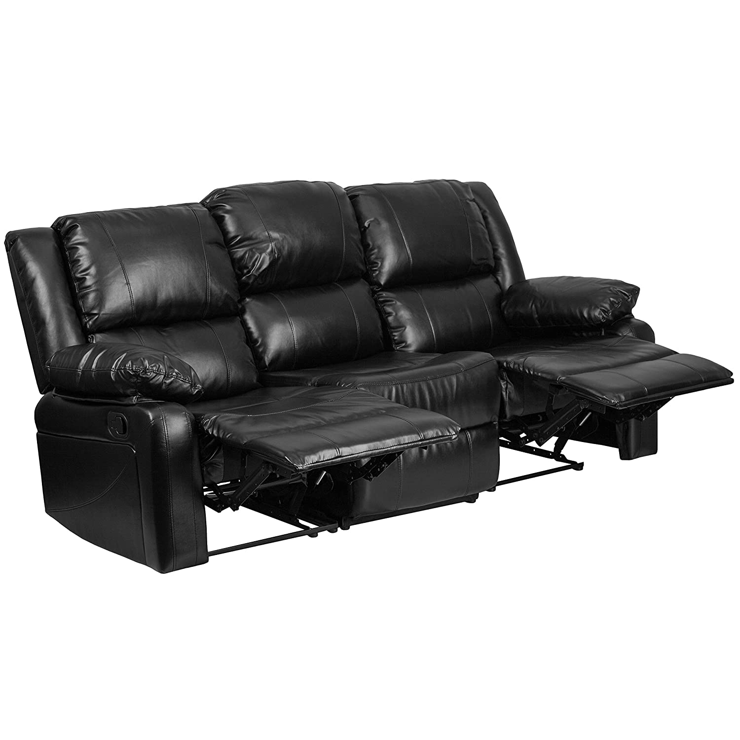 Amazon com flash furniture harmony series black leather sofa with two built in recliners kitchen dining