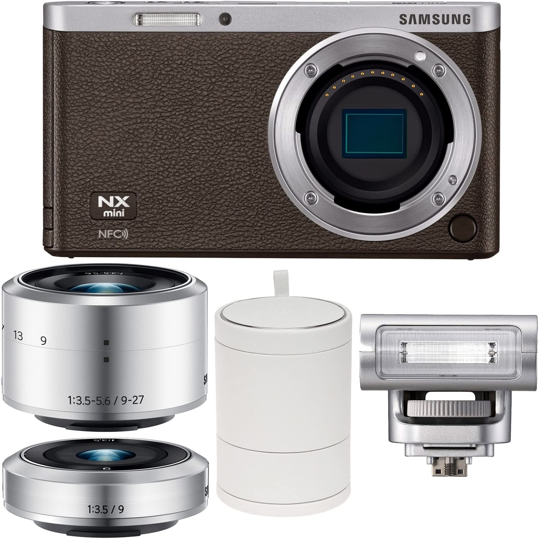 Samsung NX Mini Smart Wi-Fi cámara Digital con 9 – 27 mm, 9 mm) lentes, Flash y funda (marrón): Amazon.es: Electrónica