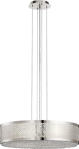 Elan Lighting 83683 Massimo – Eight Light Large Drum Pendant, Polished Nickel Finish