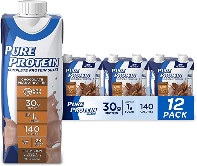 Amazon.com: Pure Protein Complete Ready to Drink Protein Shake, Keto Diet Friendly, Snack, 30g Whey Protein, With Vitamin A, Vitamin D, and Zinc to Support Immune Health, Chocolate Peanut Butter, 11oz, Pack of 12: Health & Personal Care