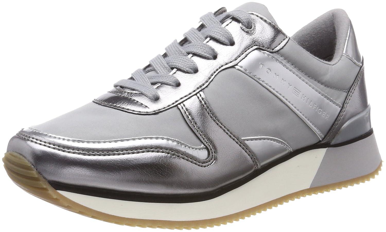 Tommy Hilfiger Metallic Sneaker, Zapatillas para Mujer 41 EU|Gris (Light Grey 004)