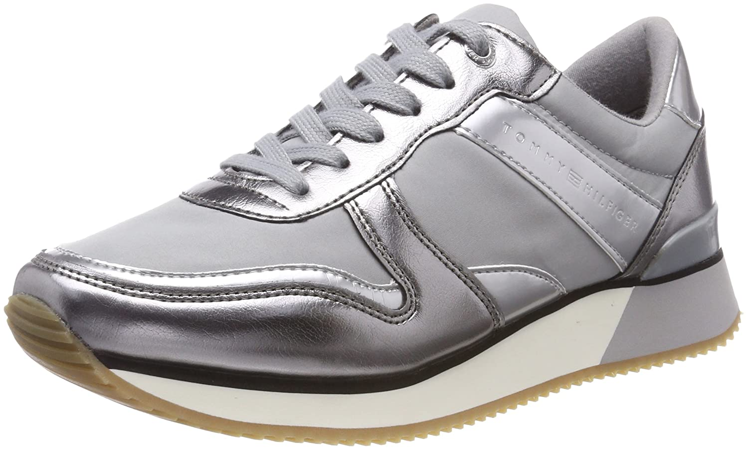 Tommy Hilfiger Damen Metallic Sneaker Grau (Light Grau 004)