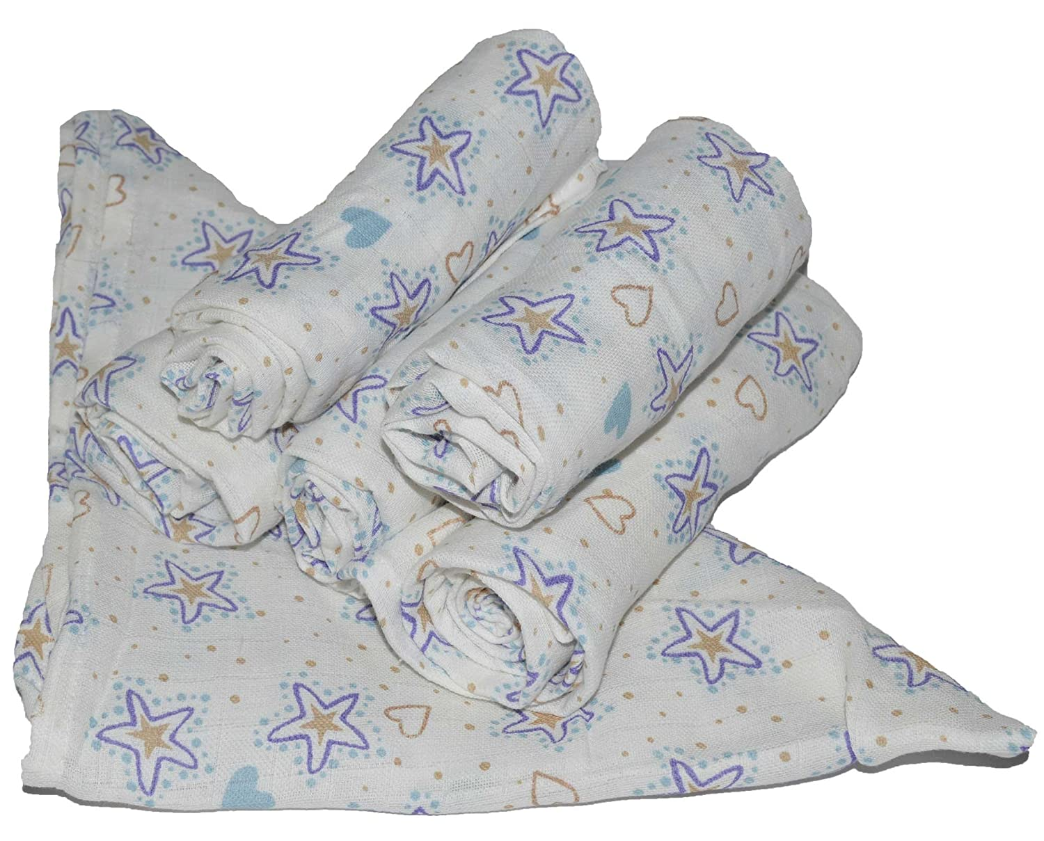 3x Muslin Squares 100/% Cotton Heart And Blue Star 70 x 70 cm