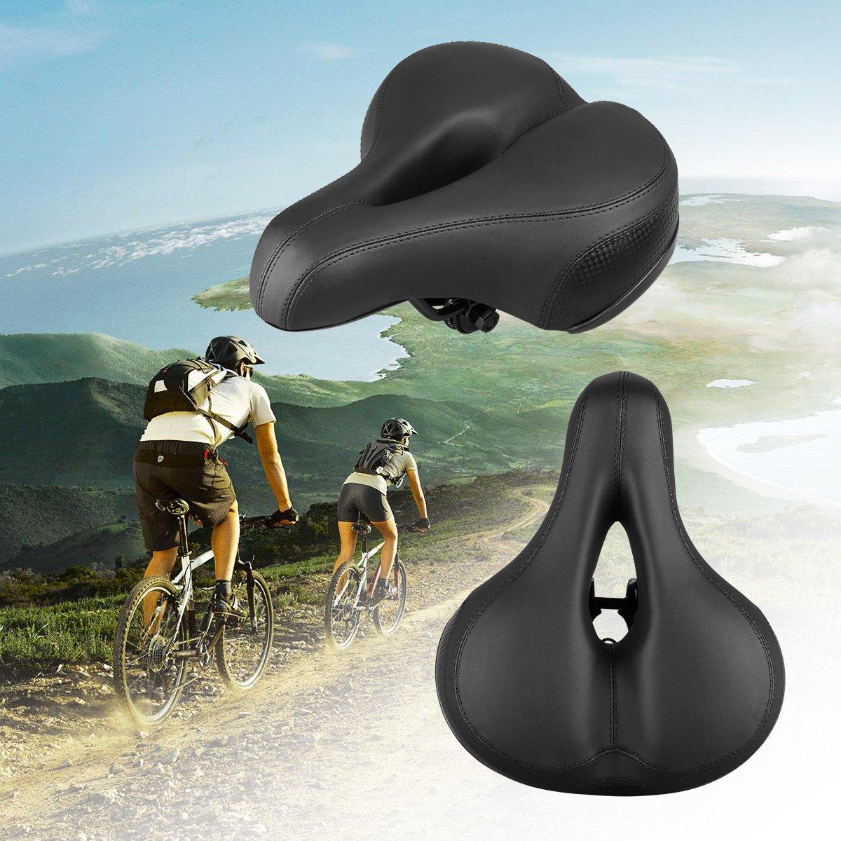 Sattel Fahrradsattel, Landnics Bequem Cityradsättel für Damen Herren Fahrradsitz mit Druckfedern Reflektierendem Streifen Mountainbike/Rennrad/Touren Schwarz