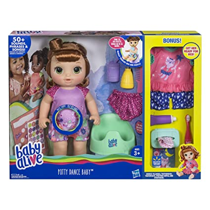 NICE GIFT Talking Baby Doll with Brown Hair Baby Alive Potty Dance Baby