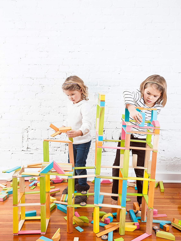 130 Piece Tegu Classroom Magnetic Wooden Block Set Tints