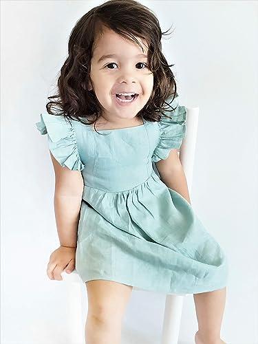 034458f220b Amazon.com  Baby Girl Linen Dress - Sage