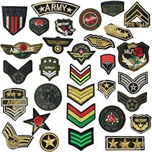 24pcs Soldier Badges Random Styles Embroidered Fabric Iron-on or Sew-on Cartoon Sticker Patches