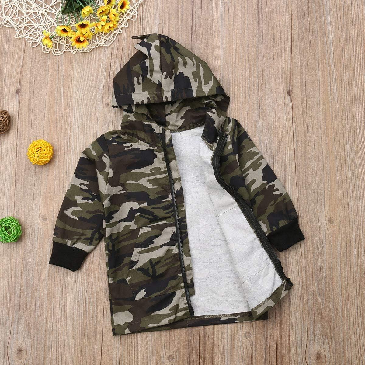 JUBILATE Toddler Baby Boys Casual Long Sleeve Camouflage Dinosaur Zipper Jacket Coat Hoodies