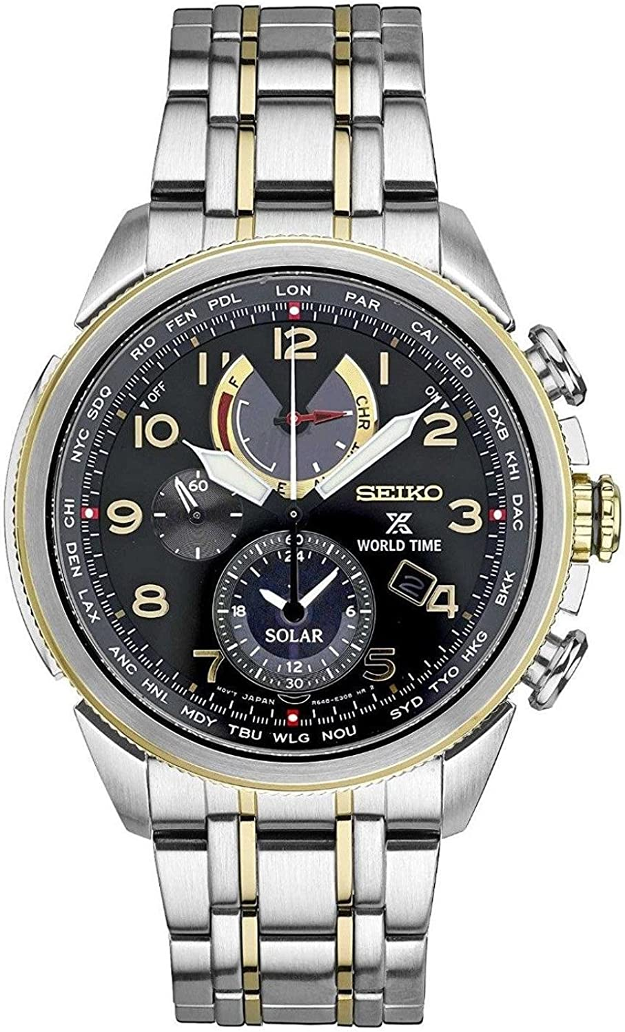 Seiko Men s Prospex World Time Solar Silvertone with Black Dial