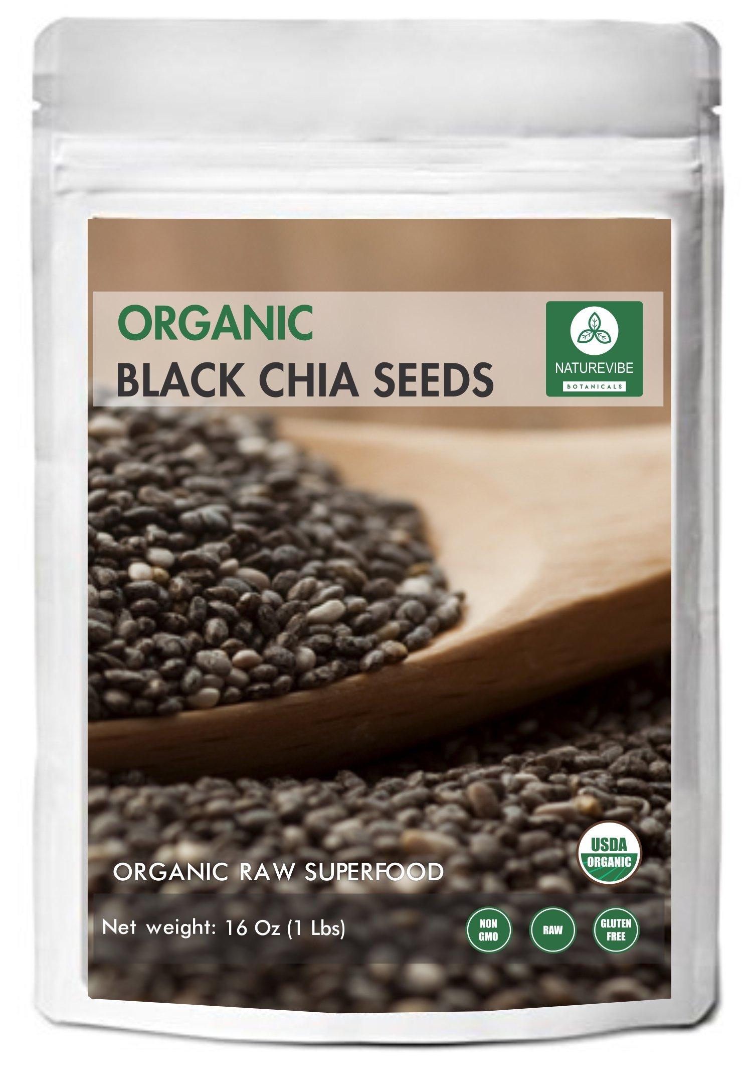 Organic Black Chia Seeds (1lb) by Naturevibe Botanicals, Gluten-Free & Non-GMO (16 ounces)