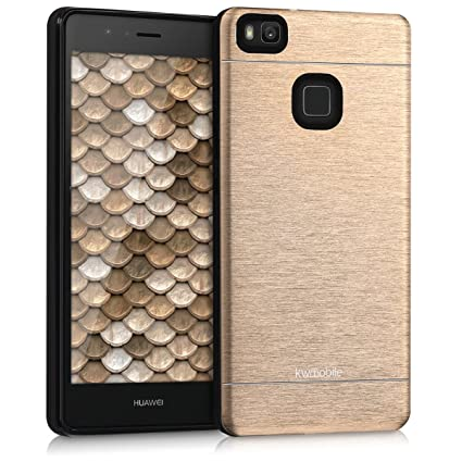 kwmobile Case for Huawei P9 Lite - Brushed Aluminum Hard Case Shockproof Protective Back Cover - Gold