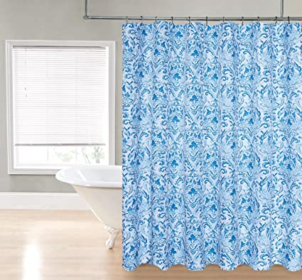 Image Unavailable Not Available For Color Bright Soft Blue Paisley Floral Maxwell Fabric Shower Curtain