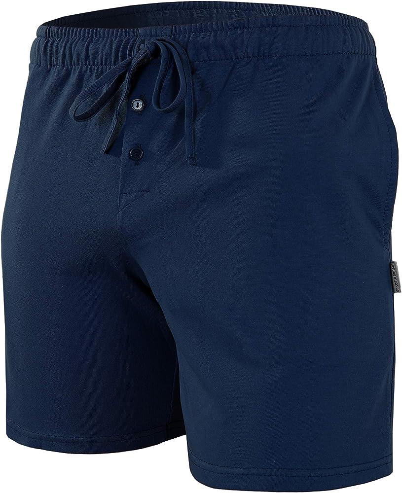 Sesto Senso Pantalones Cortos de Pijama Hombre Algodón Pantalón de Dormir M Azul Oscuro: Amazon.es: Ropa y accesorios