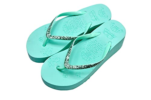 605cf8efa301 KICKONN LADY Stylish Rubber Flip-Flop Wedges Slippers for Women   Girls Sea  Green