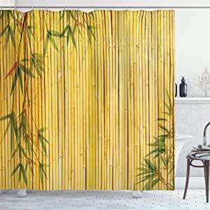 Ambesonne Bamboo Shower Curtain, Yellow Colored Bamboo Background with Tree Branches Exotic Plants Peaceful Artwork, Cloth Fabric Bathroom Decor Set with Hooks, 84