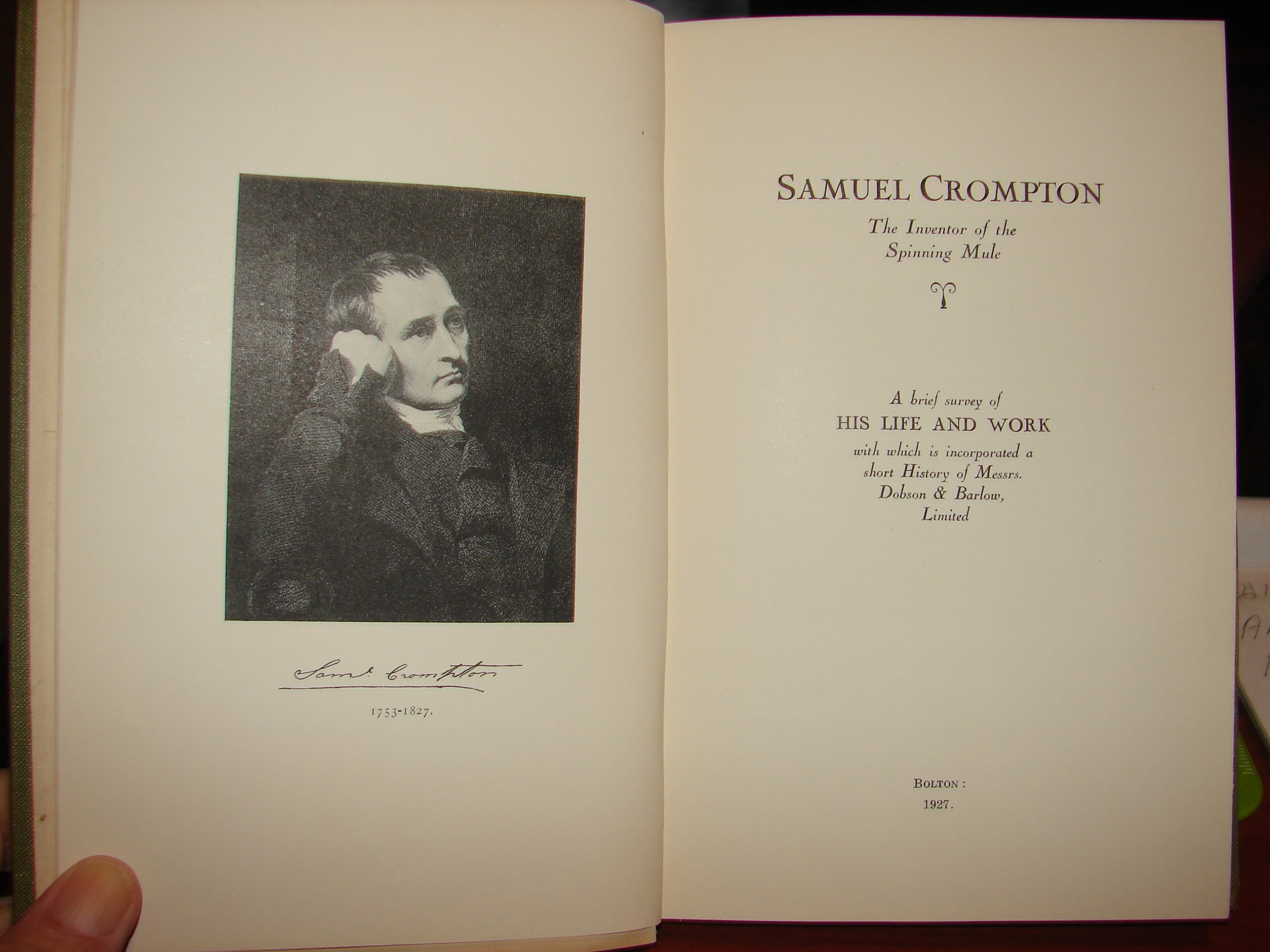 SAMUEL CROMPTON, THE INVENTOR OF THE SPINNING MULE: A BRIEF SURVEY ...