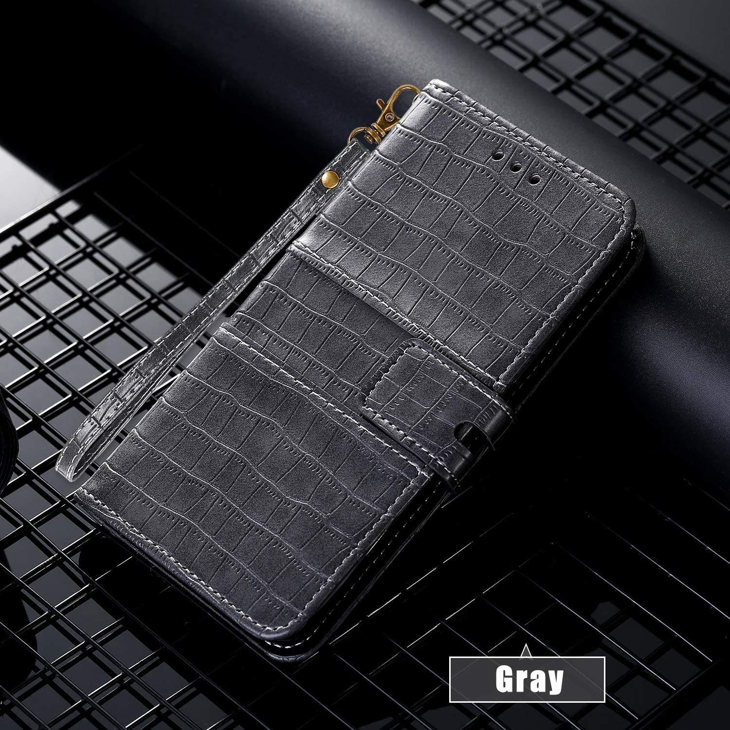 Miagon Crocodile Flip Case for Samsung Galaxy A10S,Retro PU Leather Wallet Cover with Card Slots Magnetic Kickstand Function Bookstyle Bumper,Gray
