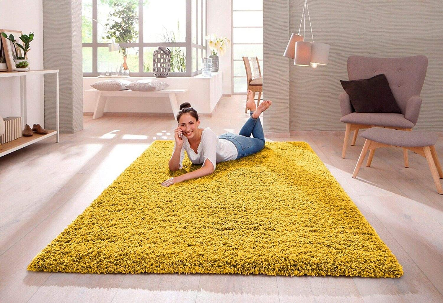 Shaggy Rug 30mm 3cm Modern Rugs Living Room Extra Large Small Medium Rectangular Size Soft Touch Thick Pile Living Room Area Rugs Non Shedding Ochre Yellow 120cm X 170cm 4ft X