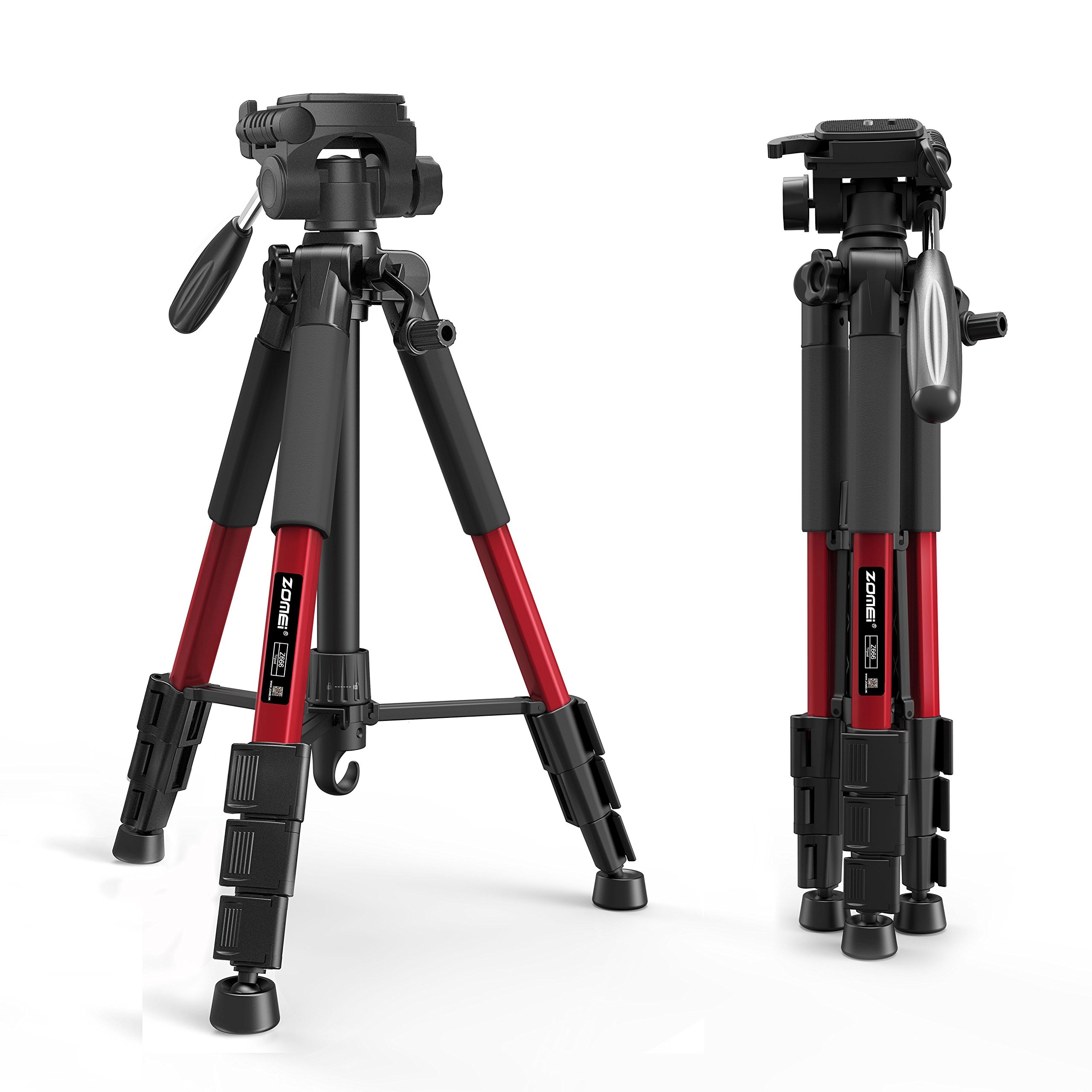 ZOMEI Z666RED Camera Compact Travel Tripod with Pan Head and Quick Release Plate, Aluminum Lightweight Camera Tripod with Carry Case for Canon Sony Nikon DSLR Cameras, Red