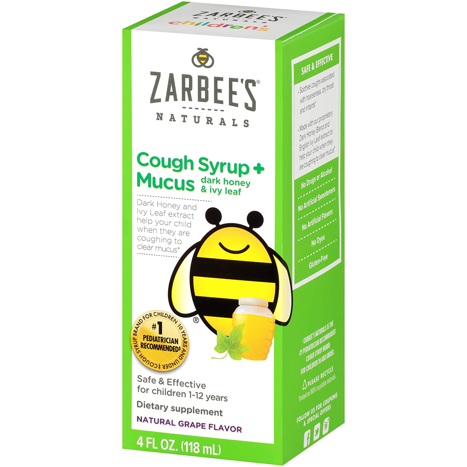 Zarbee's Naturals Children's Cough Syrup + Mucus with Dark Honey, Natural  Grape Flavored Formula That Soothes Throats, 4 Ounce Bottle Safe,  effective,