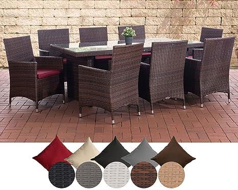 CLP Salon de Jardin Avignon XL en résine tressée, 8 chaises Julia, Table  200 x 90 cm, Coussins très Confortables, 4 Couleurs au Choix Rotin: Marron  ...