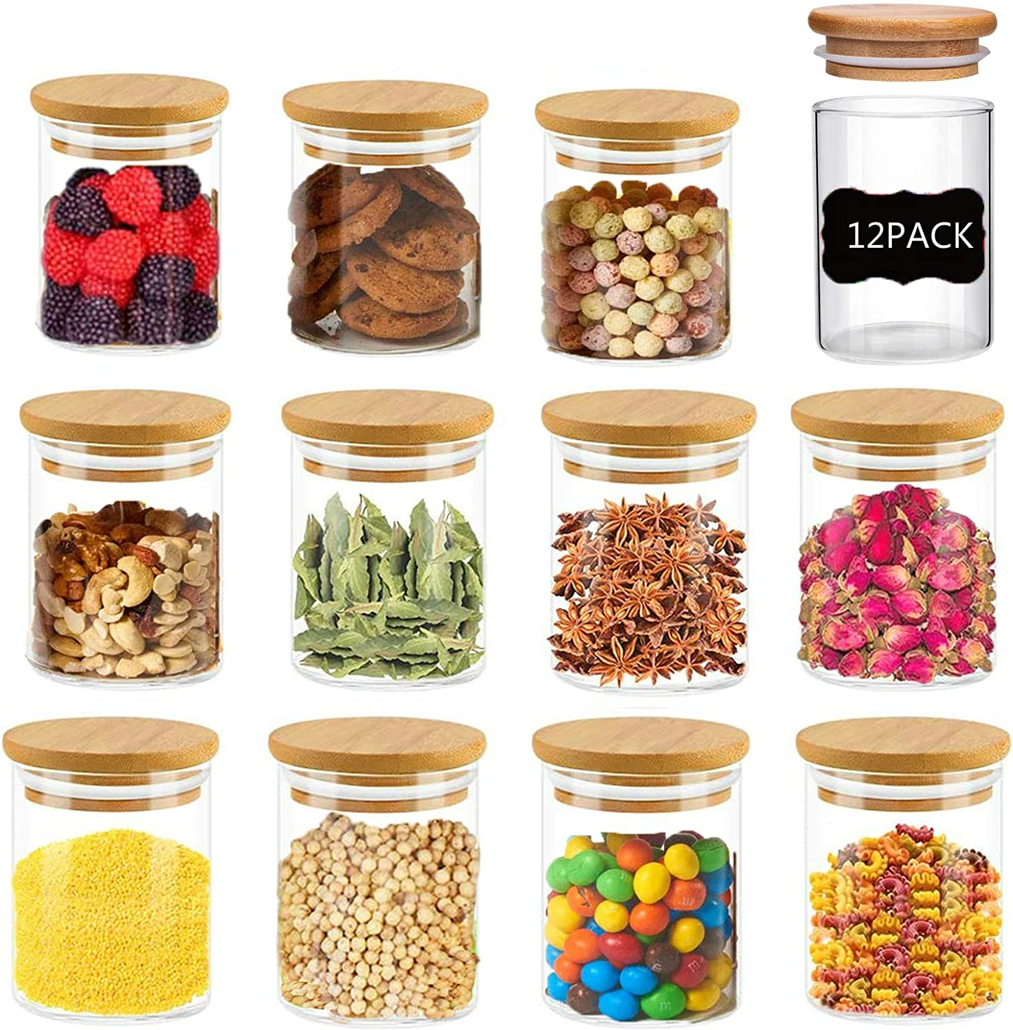 Glass Jars with Bamboo Lids, 150ml /5.3oz Clear Glass Air Tight Spice Jars,12 Piece Small Food Storage Containers for Home Kitchen, Tea, Herbs, Sugar, Salt, Coffee, Flour, Herbs, Grains