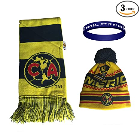 f5e395183f59e Image Unavailable. Image not available for. Color  Club America Aguilas  Mexico Soccer Set Beanie Skull Cap Hat and Scarf Reversible ...