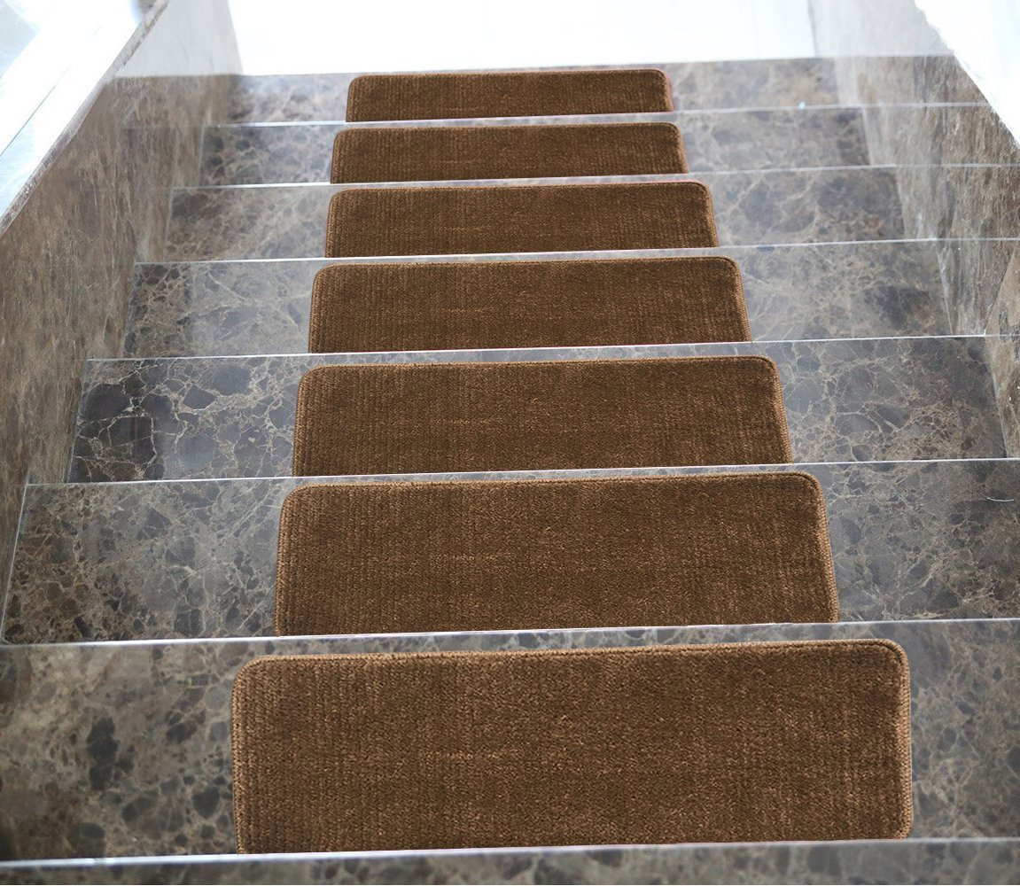 Ottomanson Softy Set of 13 Skid-Resistant Rubber Backing Non-Slip Carpet (9''X26'') Stair Treads-Machine Washable 9 inch by 26 inch, 13 Pack, Brown
