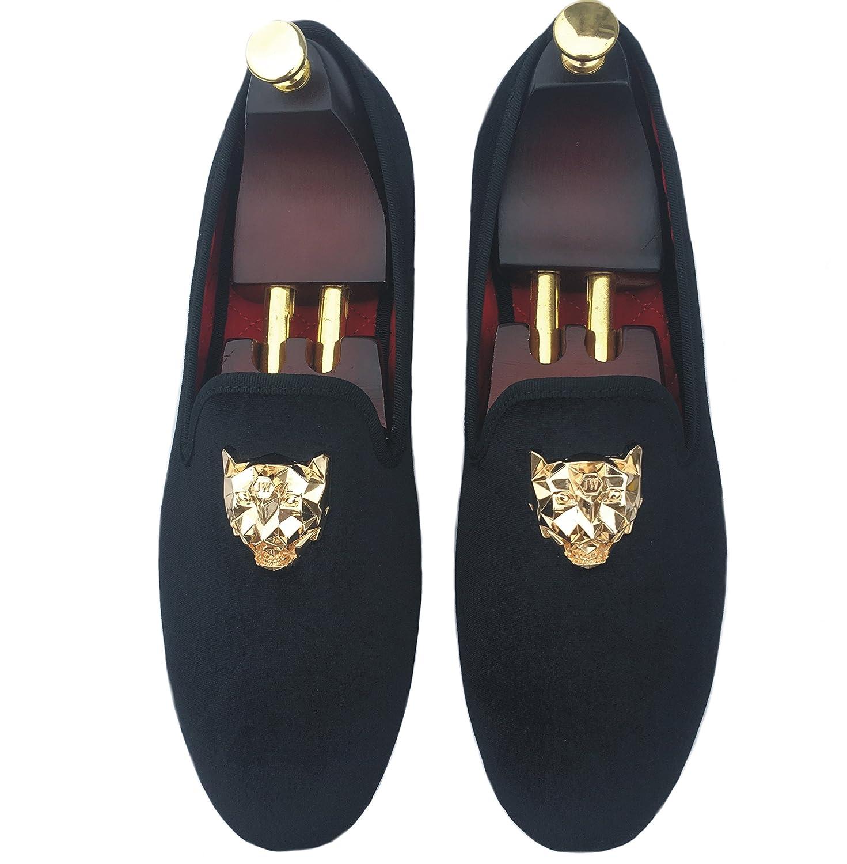 ec4416ebe8f72 Justar Men's Black Velvet Loafers Slip-on Dress Shoes with Gold Buckle  Slippers Flats