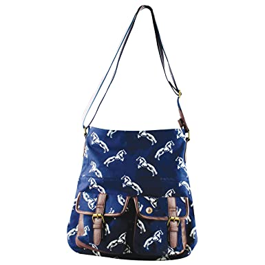 8835ecf6abb8 HAIDEE 100% Cotton Canvas Horse Print Zipped Shoulder Bag with Multi  Pockets for Women Ladies