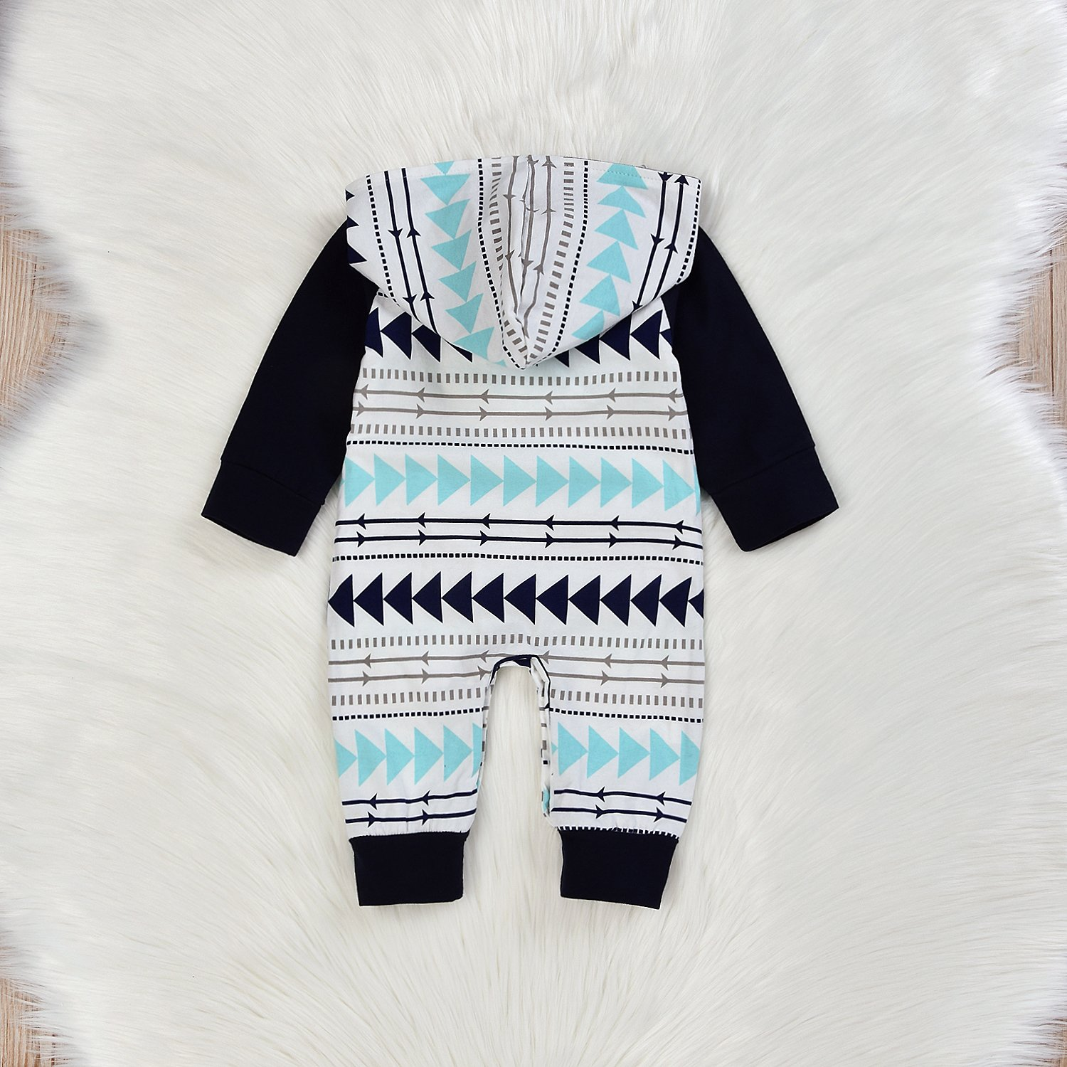 Newborn Baby Boys Hoodie Romper Outfits Long Sleeve Jumpsuit Onesies Sets