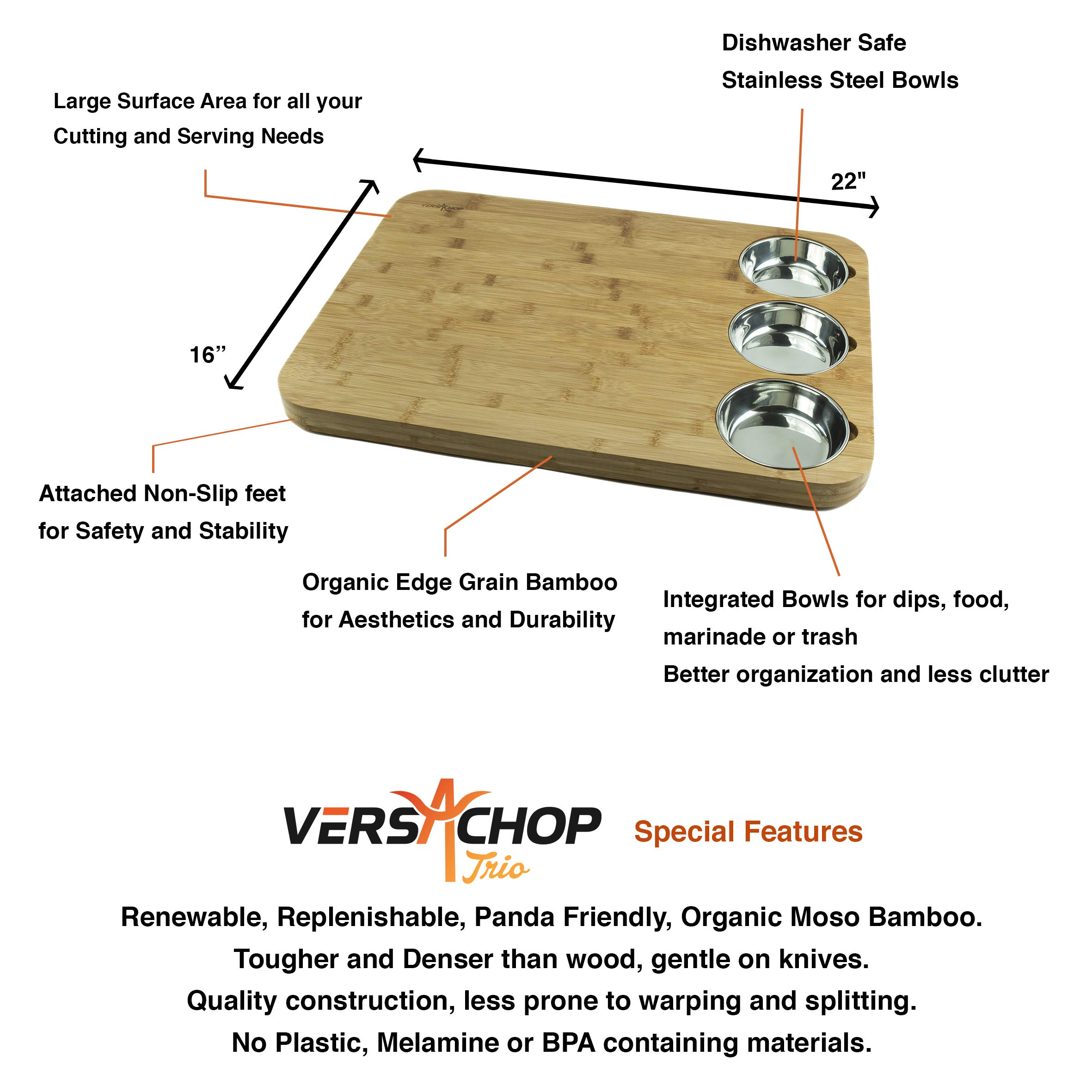 VERSACHOP Trio, Extra Large 22'' X 16'' Kitchen Cutting Board and Butcher Block made from Totally Natural Organic Moso Bamboo with Three Stainless Steel Bowls by VersaChop (Image #7)