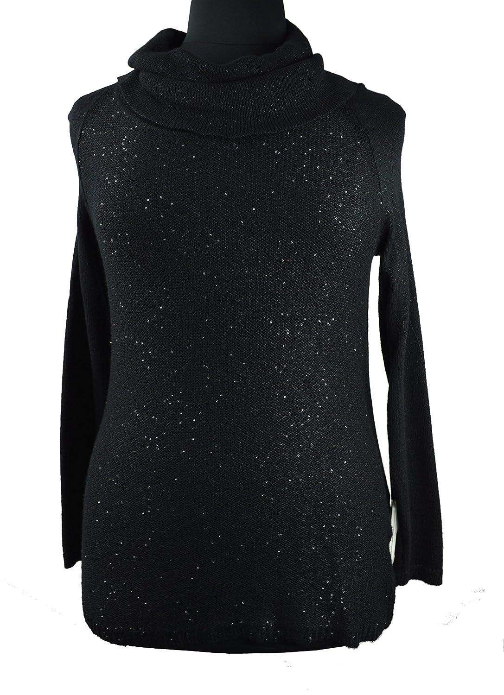 Jones New York Women's Black Sequins Mock Neck Sweater 0x