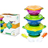 Stay Put Baby Bowls - Suction Toddler Spill Proof Feeding Set - Bonus Spoon and Fork - 3 Sizes of Bowls, and Snap Tight Lids, Perfect To Go Storage - FDA Approved BPA Free