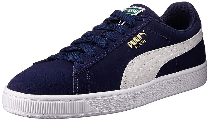 Puma Suede Schuhe Erwachsene Damen Herren blau (dunkelblaue) m weißem Streifen