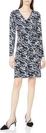 Lark & Ro Amazon Brand Women's Long Sleeve Side Gathered Faux Wrap Dress