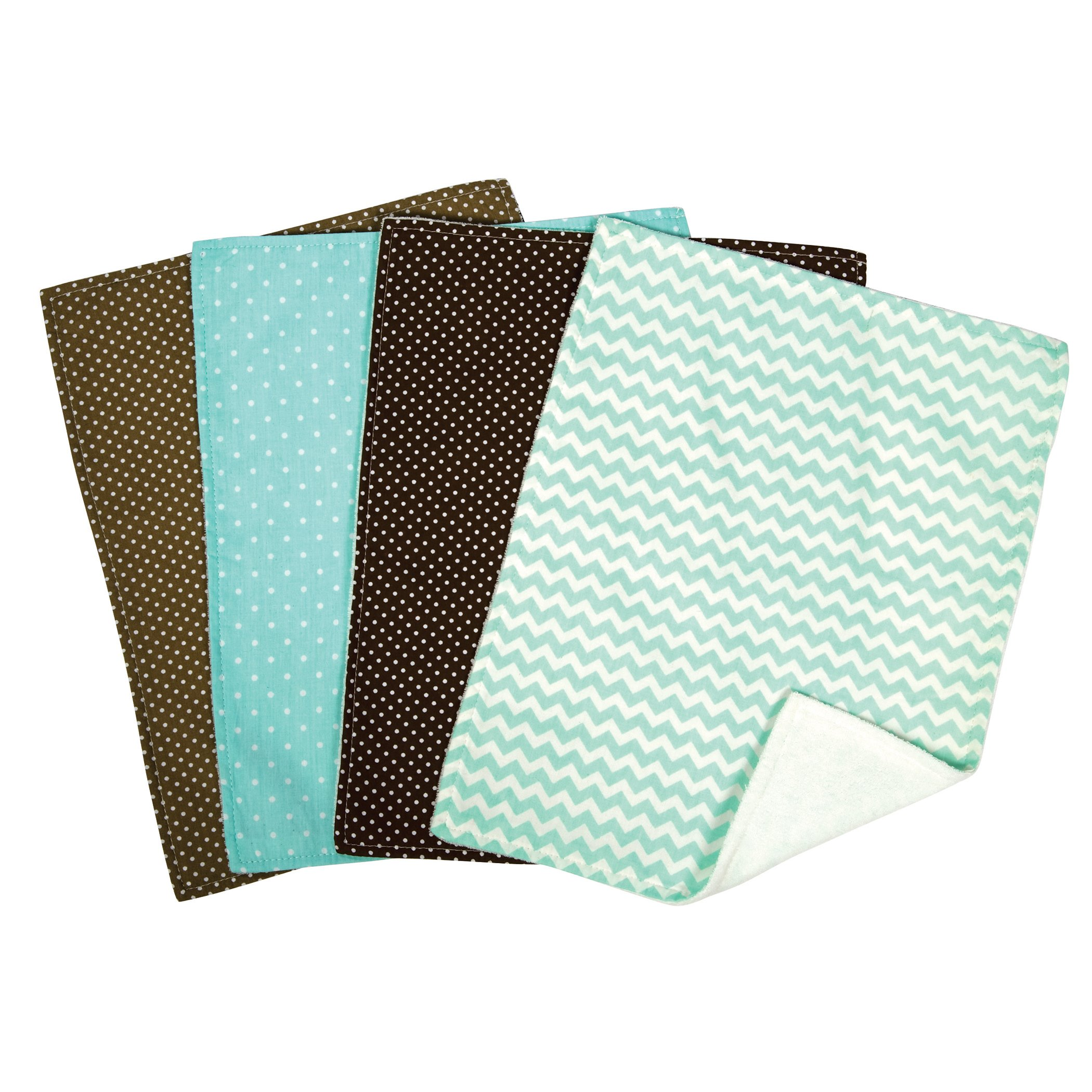 Trend Lab Cocoa Mint Burp Cloth Set, 4-Count