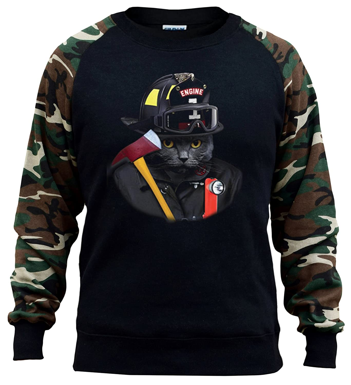 Interstate Apparel Mens Firefighter Cat Black//Camo Raglan Baseball Sweatshirt Black