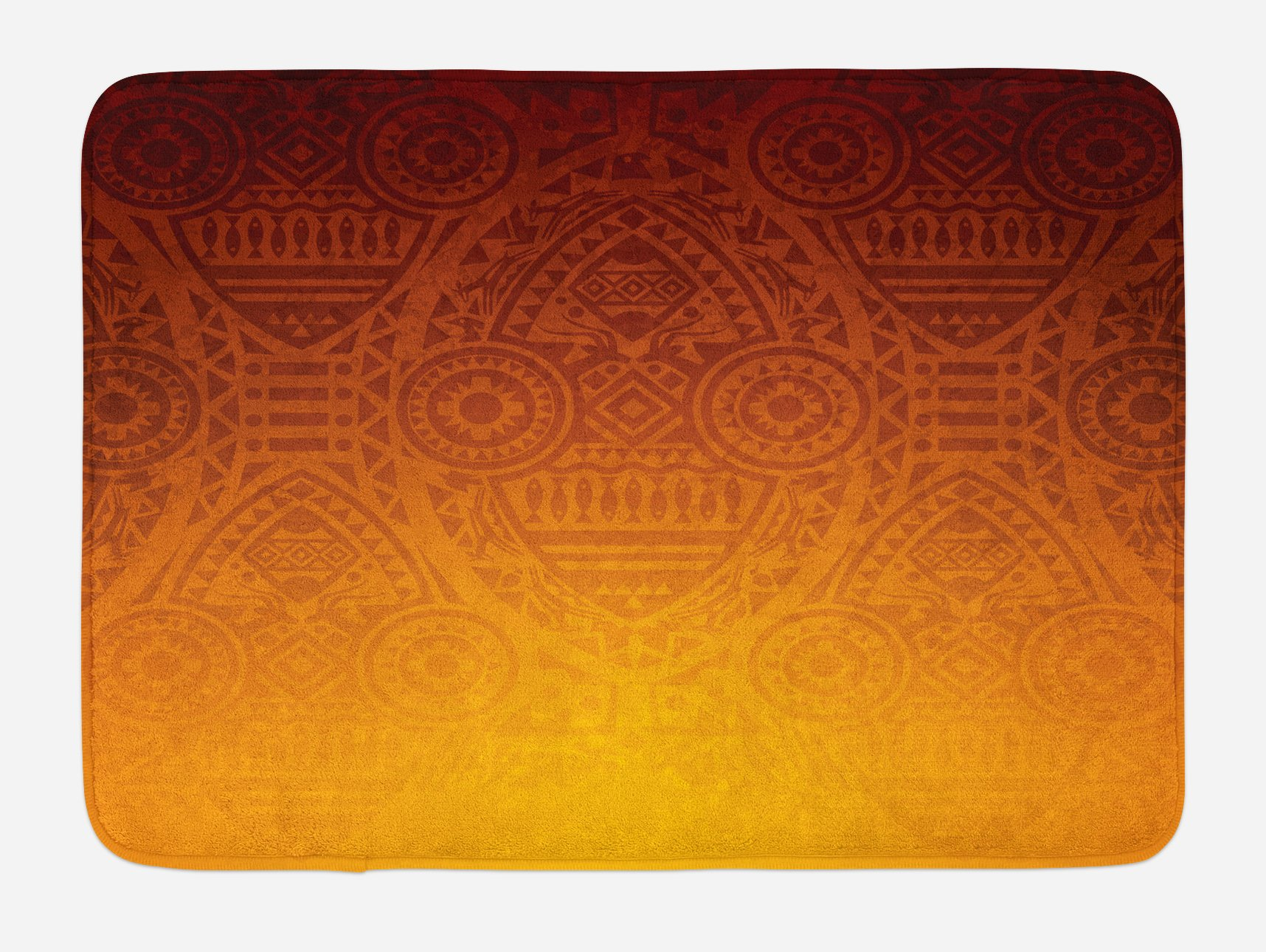 Lunarable Ethnic Bath Mat, Mysterious African Tribal Wall Motifs with Mask Ceremonial Mystical Sacred Artwork, Plush Bathroom Decor Mat with Non Slip Backing, 29.5 W X 17.5 W Inches, Burnt Orange