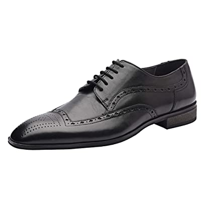 Allonsi Pascal Men's Modern Dress Shoes, Genuine Leather Wingtip Oxford Dress Shoes for Men, Handcrafted Genuine Leather Men Dress Shoes | Oxfords