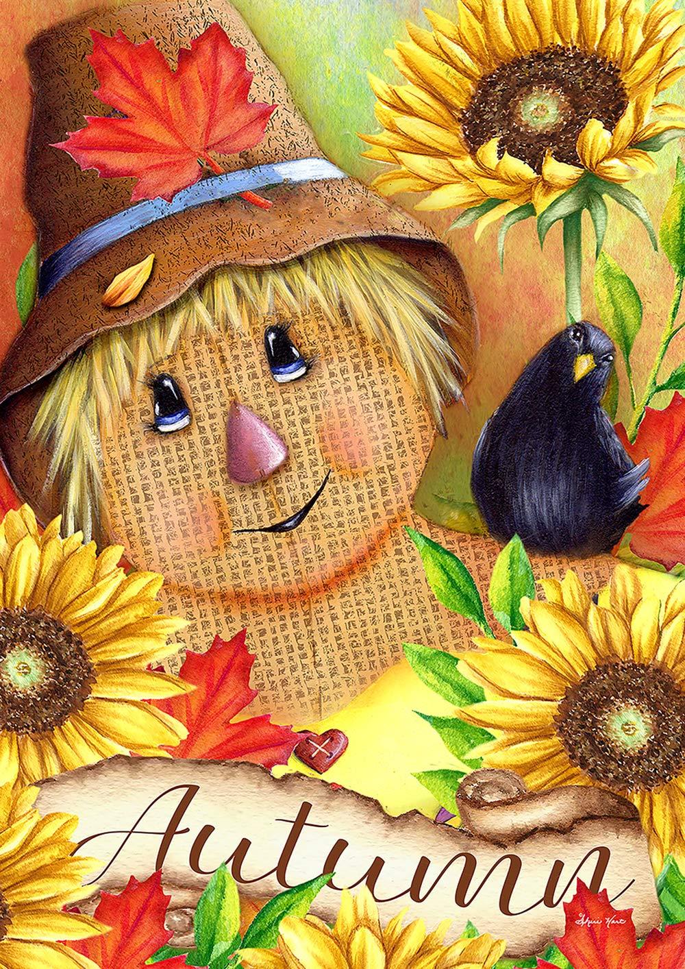 Toland Home Garden 1012215 Autumn Scarecrow 28 x 40 inch Decorative, Fall Harvest Happy Friends, House Flag