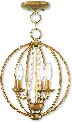 Livex Lighting 40913-48 Arabella 3 Light AGL Mini Chandelier Flush Mount, Antique Gold Leaf