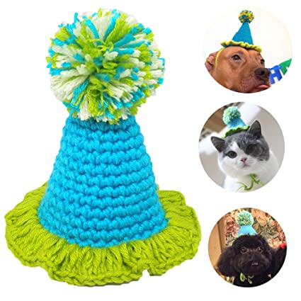 PET SHOW Small Dog Birthday Hat For Puppies Cats Party Costumes Handmade Yarn Pet Hats Blue