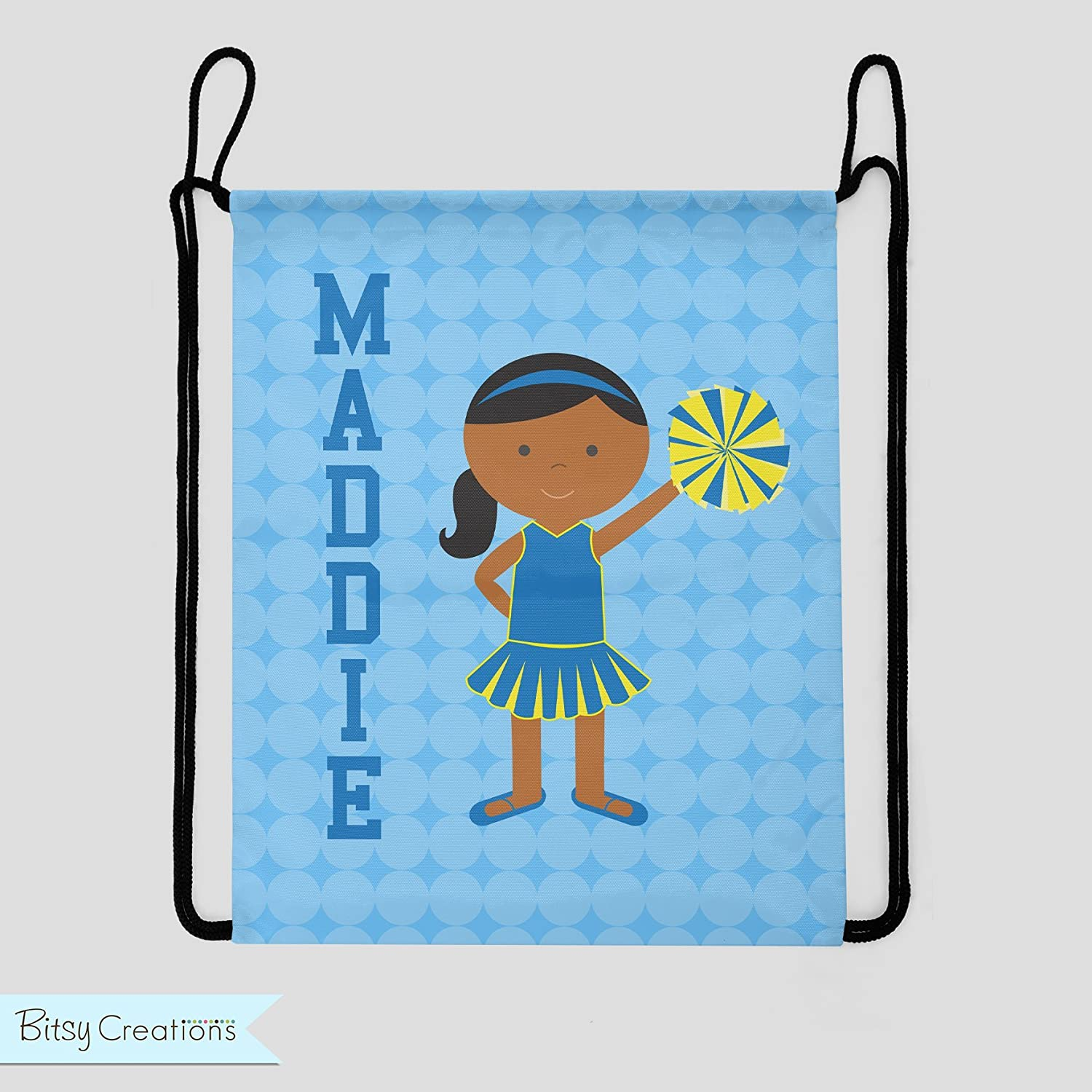 Cheer Drawstring Backpack - Blue and Yellow - You Choose Hair and Skin Color - Personalized Bag - Sports Bag - Cheerleading Bag