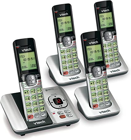 VTech CS6529-4 DECT 6.0 Phone Answering System 4 Cordless Handsets Silver//Black
