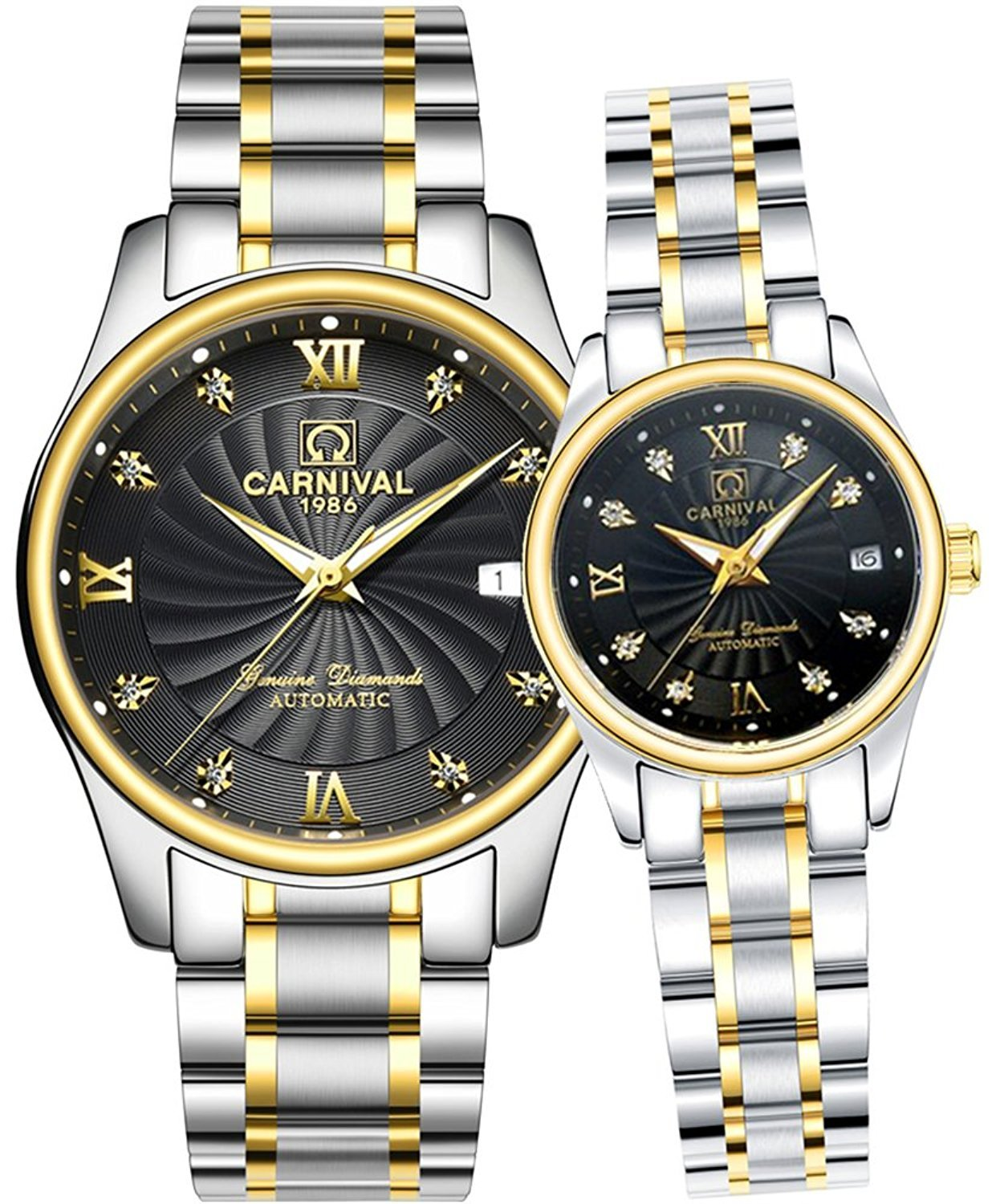 Men and Women Couples Automatic Mechanical Gold & Silver Stainless Steel Watches Gift Set Sapphire Watch (Silver Black)