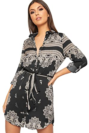 3ea045a945ac WearAll Women's Paisley Print Long Sleeve Belted Short Button Ladies Mini  Shirt Dress - Black -