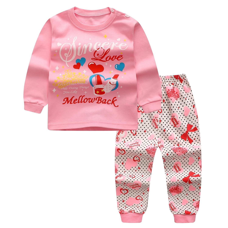 Pigiama set per bambini ragazze ragazzi neonato Camicie + Pantaloni Homewear Indumenti da notte in cotone Pajama indumenti da notte Vestiti a manica lunga 0-4 anni Kootk